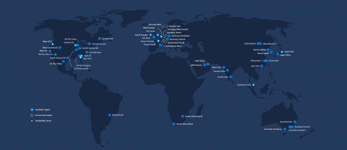 Azure / Mapa de data centers