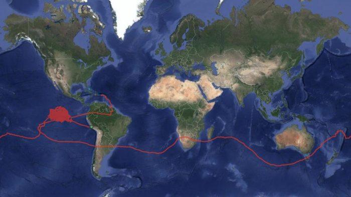 O balão saiu de Porto Rico, deu a volta ao mundo e aterrisou no Peru
