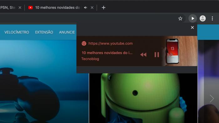 Chrome / Botão para pausar vídeo