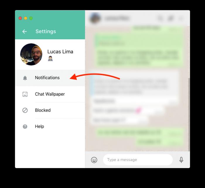 tela de configurar notificações do whatsapp web