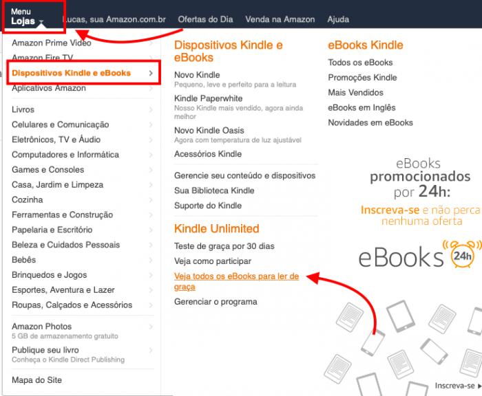 Seção de ebooks que integram o Kindle Unlimited
