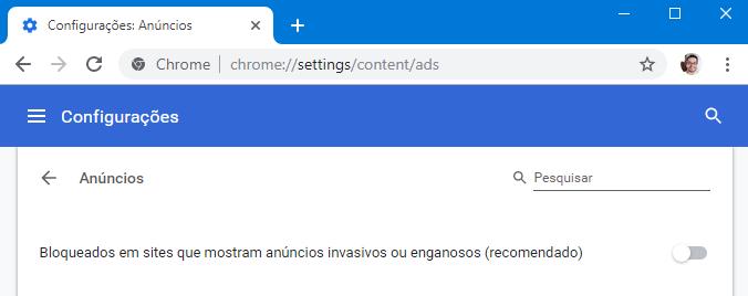Google Chrome - bloqueador de anúncios abusivos