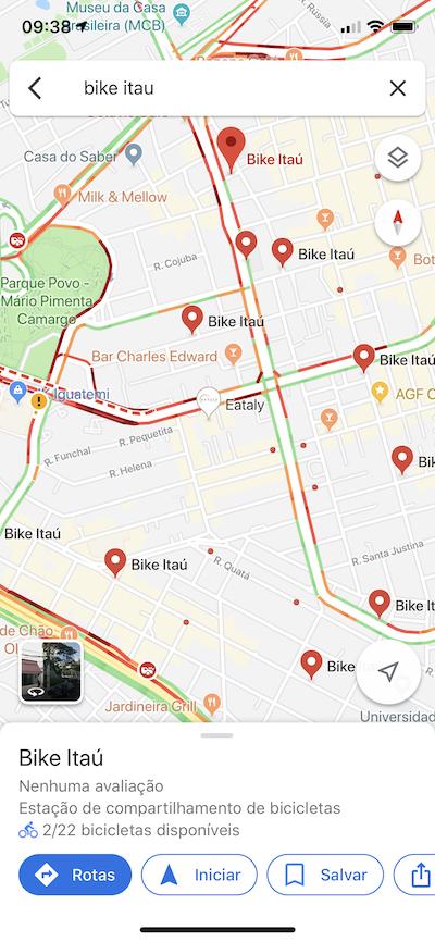 Google Maps / Bike Itaú