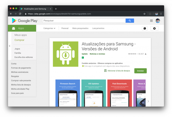 Google Play - Atualizações Samsung