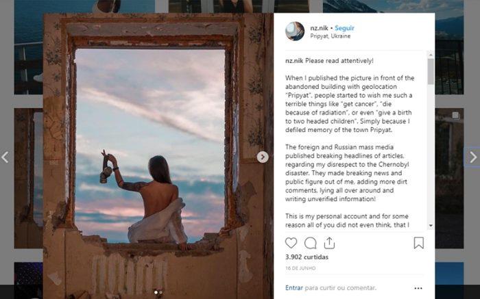 Um número crescente de instagramers usa a região de Chernobyl (Prypyat) como cenário