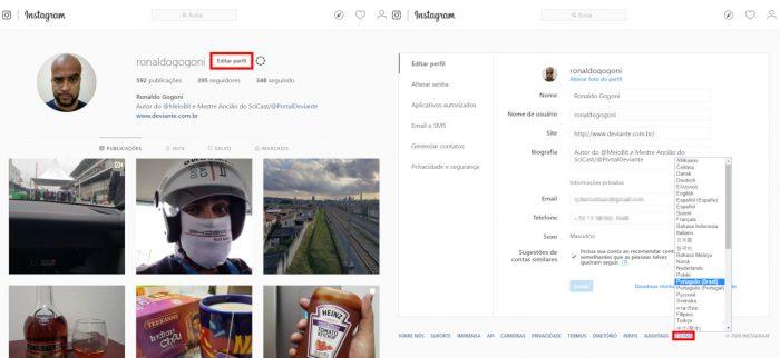 Navegador desktop / Instagram / como mudar idioma instagram