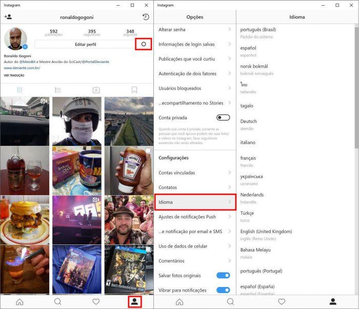 Windows 10 / Instagram / como mudar idioma instagram