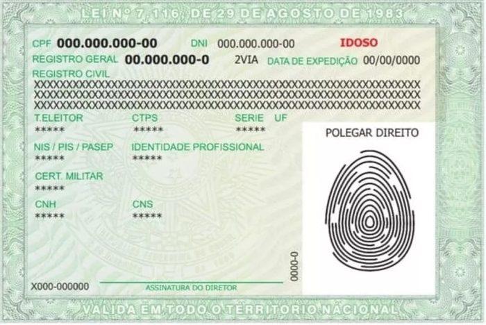 Nova modelo de RG (Imagem: Polícia Civil do DF)