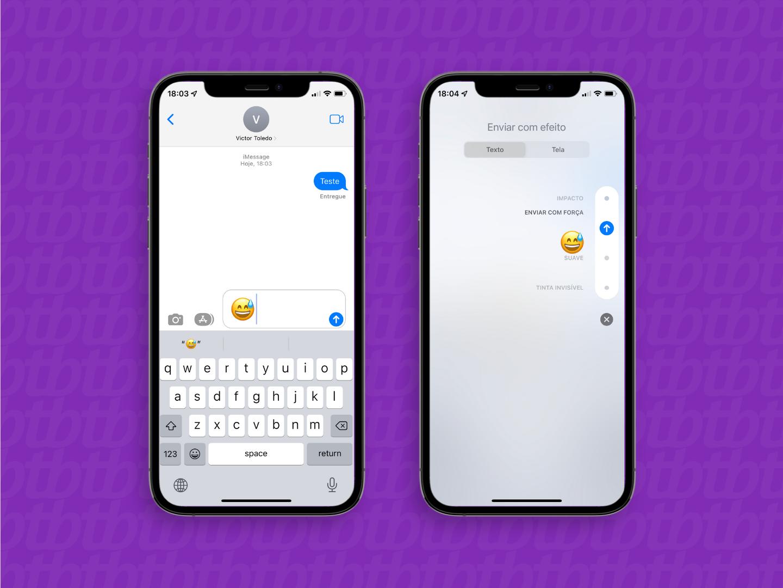 Enviando uma mensagem com efeito no iMessage