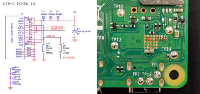 Raspberry Pi 4 Model B - esquema USB-C
