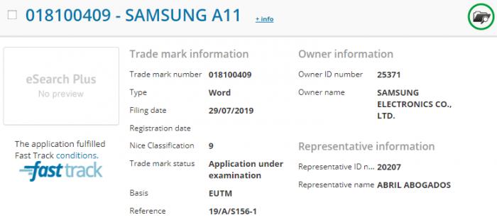 Samsung A11 no EUIPO