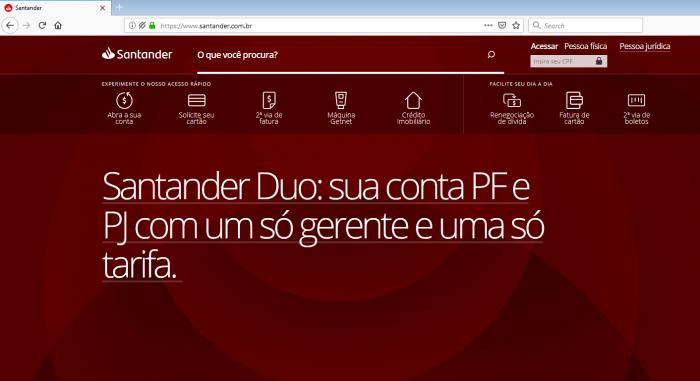 Site verdadeiro do Santander