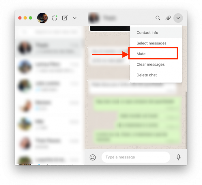 silenciar chat específico whatsapp web