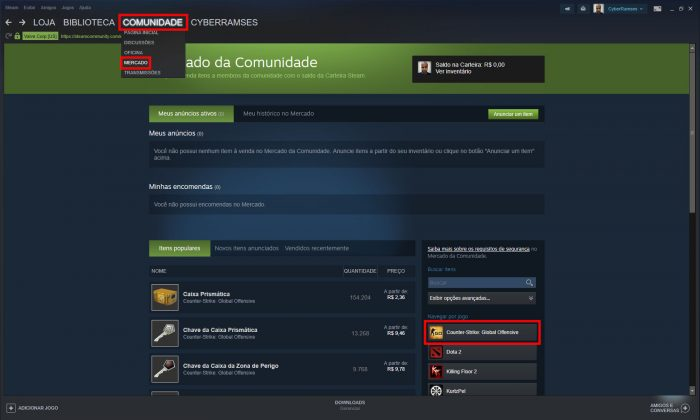 Valve / Mercado do Steam / como ganhar skins no cs go