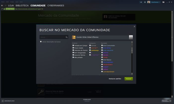 Valve / Mercado do Steam / como comprar armas no cs go