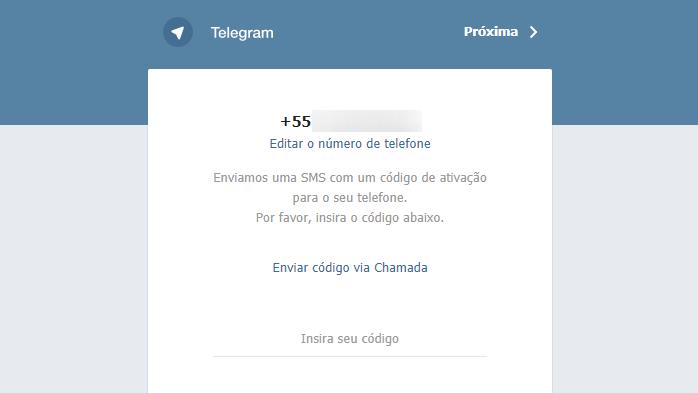 Telegram Web e código por ligação