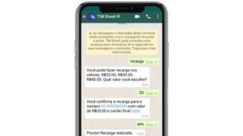 TIM libera recarga de créditos de celular pré-pago via WhatsApp