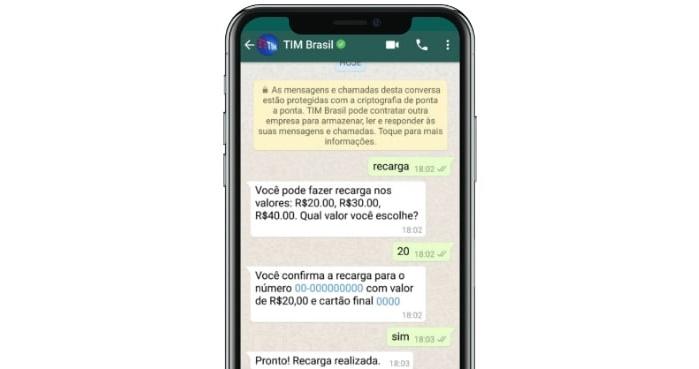 TIM e recarga via WhatsApp