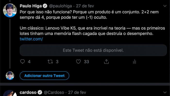 Este Tweet não está disponível