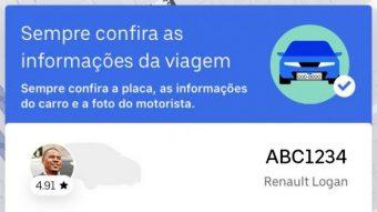 Uber atualiza app no Brasil para que passageiros não entrem no carro errado