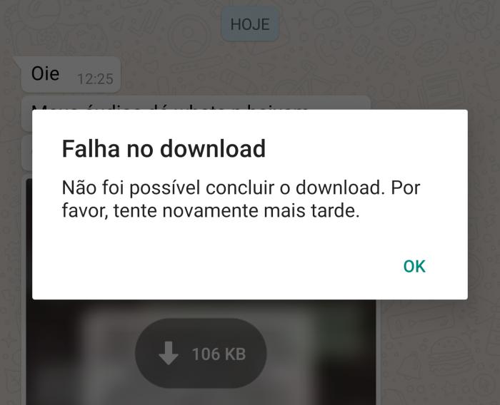 WhatsApp com falha no download de imagem
