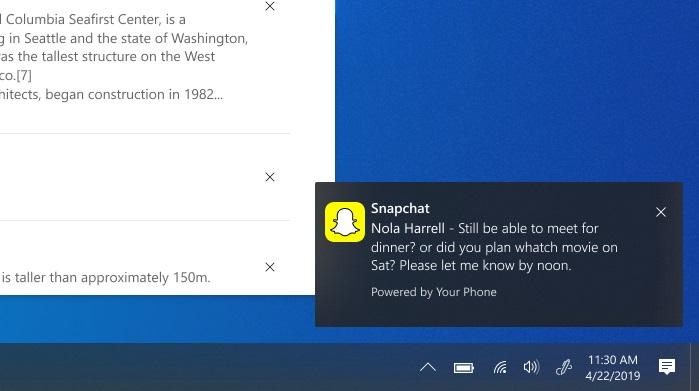 Windows 10 e notificação do Android