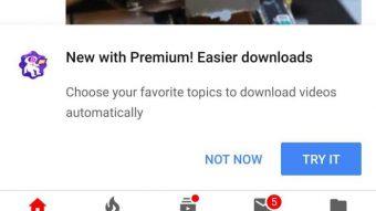 YouTube Premium testa download automático de vídeos de canais favoritos