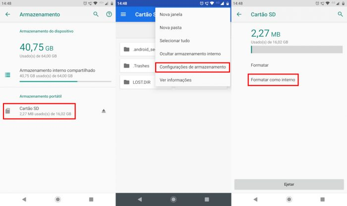 Android / como transformar cartão SD em memória interna