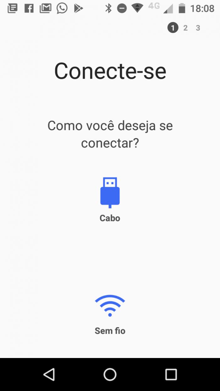 selecionar o tipo de conexão com o outro celular