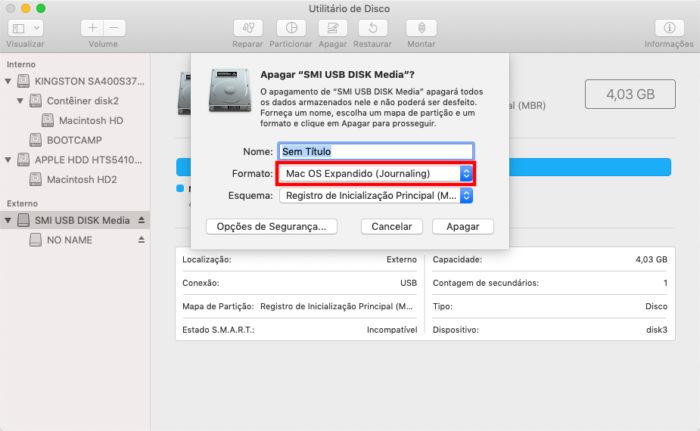 Utilitário de Disco do macOS