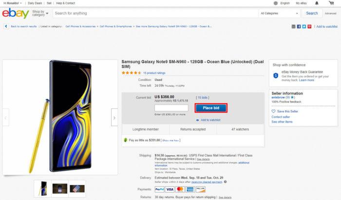Leilão no eBay