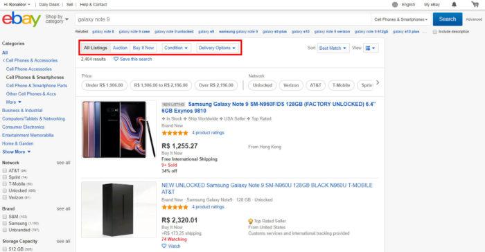 Ferramenta de busca do eBay / Como comprar no eBay
