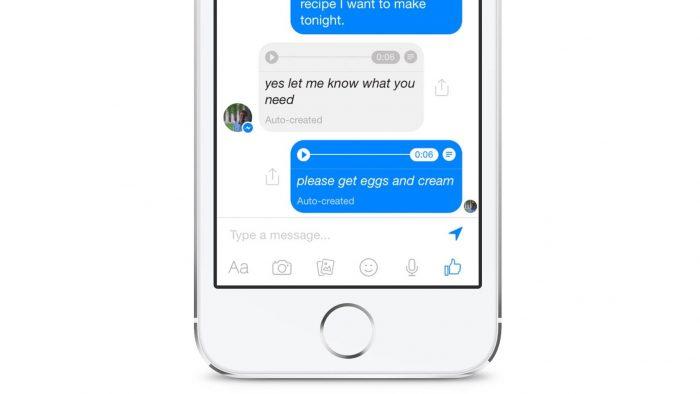 facebook messenger voz para texto