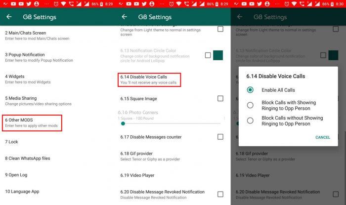 Android / GB WhatsApp / bloquear chamadas no whatsapp