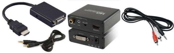 Adaptadores HDMI/VGA e HDMI/DVI e cabo 2xRCA/P2 / como transformar monitor em tv