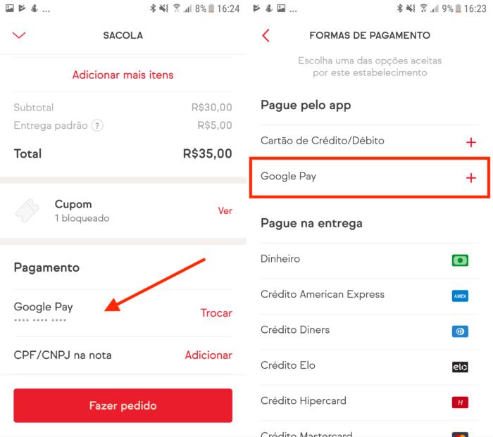 exemplo de pagamento em outros aplicativos com o google pay