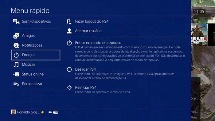 Sony / Menu rápido / como limpar cache do ps4