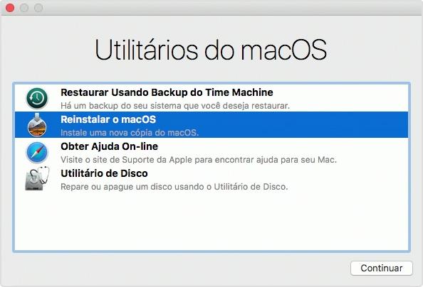 utilitário do macOS para reinstalar o sistema