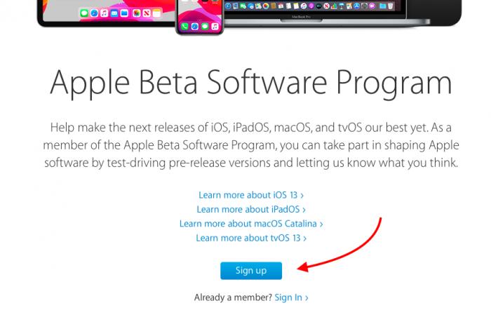inscrever-se para o programa de beta público da apple
