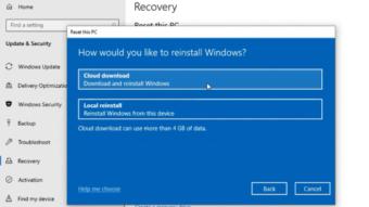 Windows 10 testa recurso de restauração da nuvem em prévia
