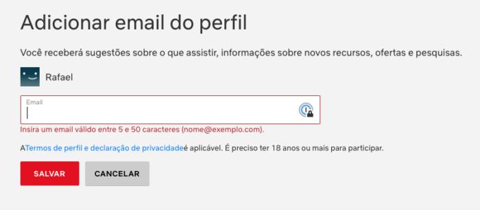 Adicionar Email Perfil Netflix 2