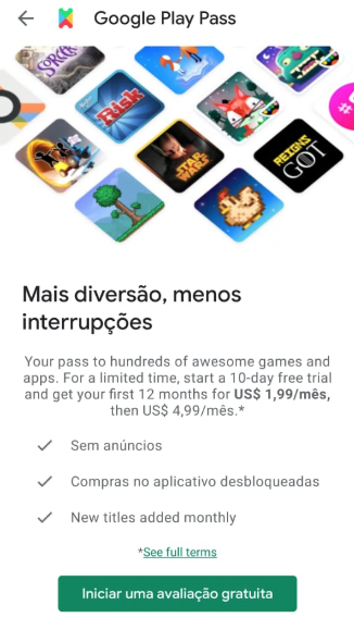 Google Play Pass Avaliacao Gratuita 10 dias