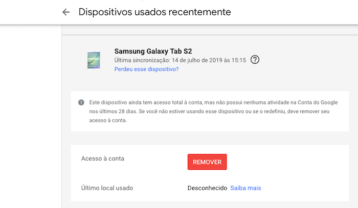 Logou Gmail - Dispositivos