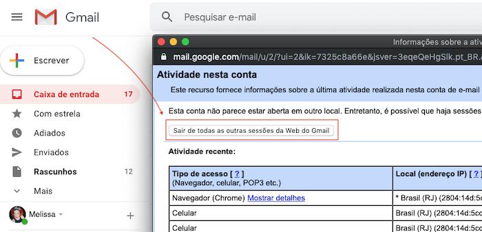 Sair do Gmail Remotamente - Sessoes Web