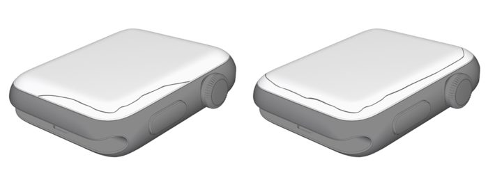 Exemplos de rachaduras que afetam o Apple Watch Series 2 ou 3