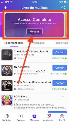 tela do aplicativo smule