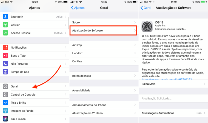 como atualizar o iOS