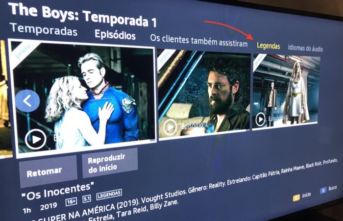 Selecionar opção da legenda na TV