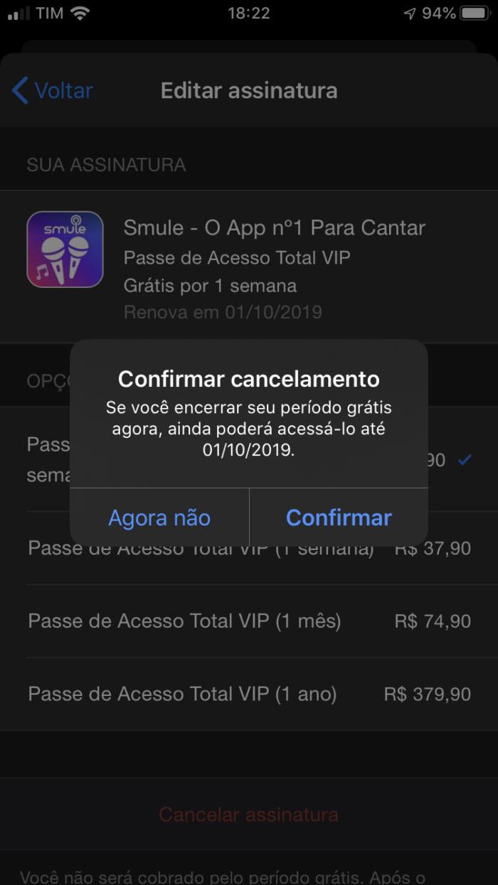 cancelar assinatura do smule pelo iphone