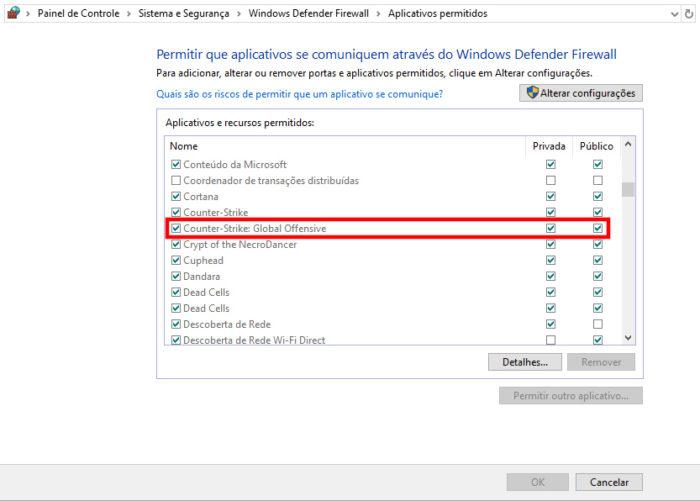 Painel de Controle / Windows Defender Firewall / Como jogar CS GO em lan